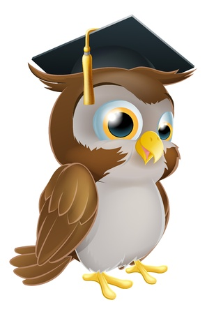 Illustration of a cute cartoon wise owl wearing a mortarboard convocation or graduation hat