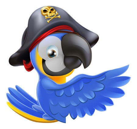 An illustration of a pirate parrot mascot leaning round a sign board and pointing with its wing or showing something