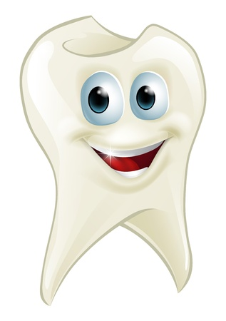 An illustration of a cartoon tooth man character mascot