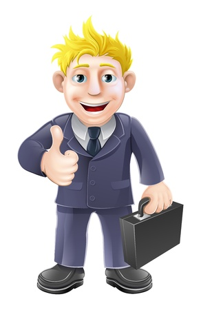 Business man holding a briefcase and giving an enthusiastic thumbs up Stock Vector - 20018608