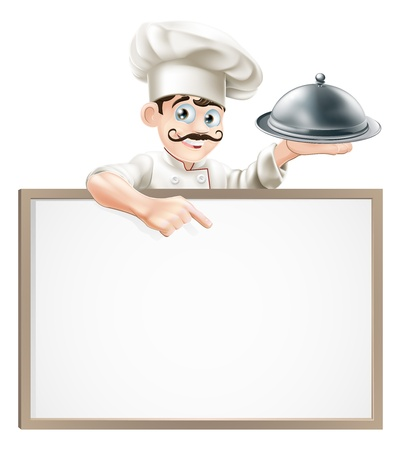 A cartoon chef character holding a silver platter or cloche pointing at sign Ilustração