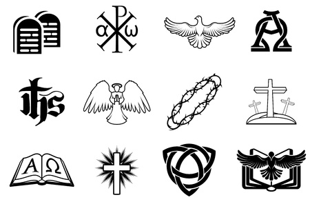 A set of Christian icons including angel, dove, alpha omega, Chi Ro and many more Иллюстрация