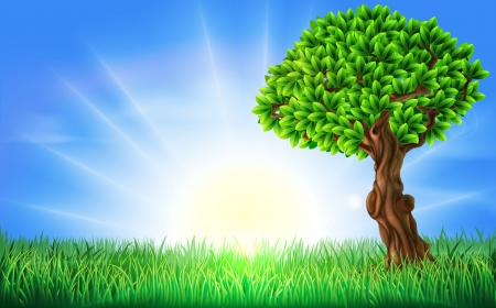 A background illustration of a field of bright green grass on s a spring or summers day with a sun rise or sun set and beautiful green tree
