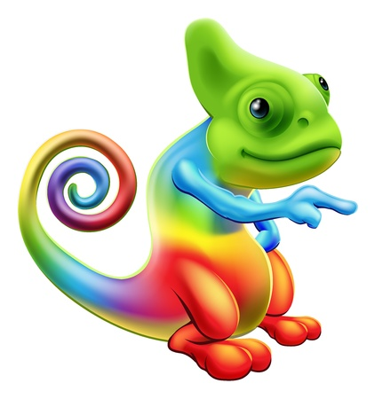 Illustration of a cartoon rainbow chameleon mascot standing and pointing Ilustração