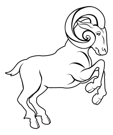 An illustration of a stylised black ram or sheep perhaps a ram tattoo Illustration