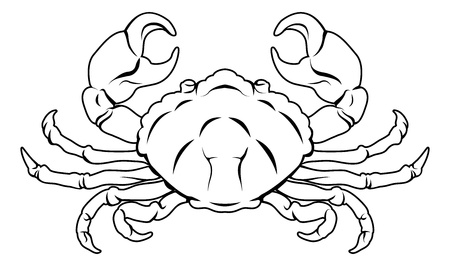 An illustration of a stylised black crab perhaps a crab tattoo