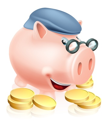 A happy senior piggy bank cartoon character smiling, dressed as an older adult and surrounded by coins. Metaphor for good pension provisions or having saved well for your future
