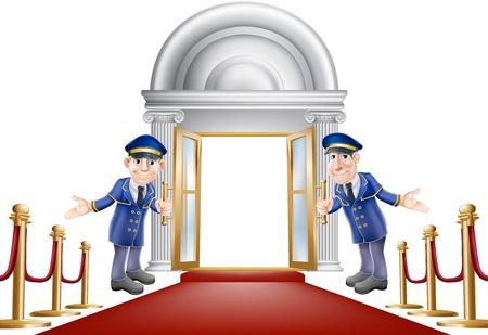 Een illustratie van een rode loper entree met fluwelen touwen en twee portiers verwelkomen de kijker in