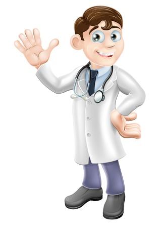Een afbeelding van een vriendelijke cartoon arts glimlachend en zwaaiend