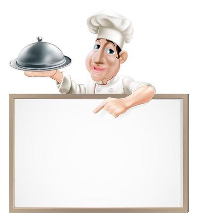 A cartoon chef character holding a silver platter and pointing at a sign Ilustração
