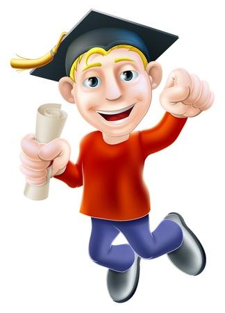証明書、資格または他スクロール clenched 拳と喜びのジャンプ漫画男。学習やトレーニング、試験に合格のための教育の概念
