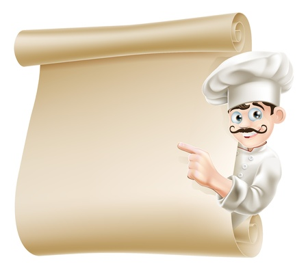 Illustration of a happy cartoon chef pointing at menu