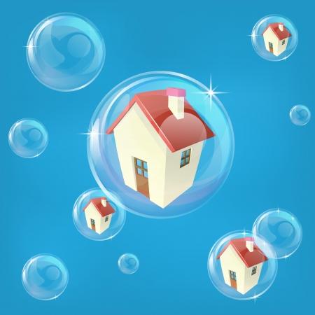 Negocios o la economía concepto de ilustración que representa una burbuja en la vivienda o en el mercado de bienes raíces