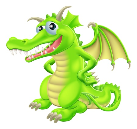 An illustration of a green cartoon happy dragon character standing with hand on hips Stock Vector - 20720675