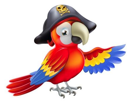 Een cartoon piraat papegaai karakter met een ooglapje en tricorn hoed met schedel en cross botten wijst met zijn vleugel