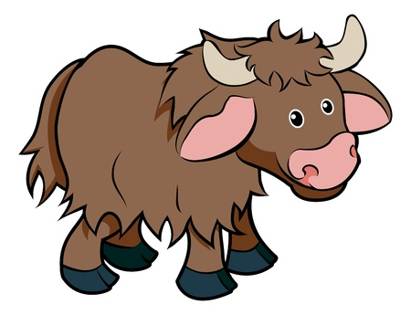 An illustration of a cute happy cartoon hairy Yak animal character