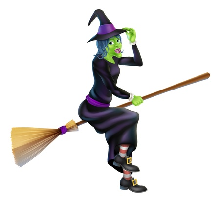 Illustration of a happy cartoon Halloween witch flying on her broomstick and tipping her hat