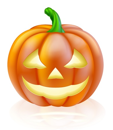 An illustration of a cute cartoon carved Halloween pumpkin lantern with happy smile