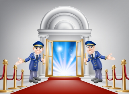 First class treatment conceptual illustration. A venue entrance with a red carpet and red velvet rope and two friendly doormen in uniform welcoming in a VIP guest. Illustration