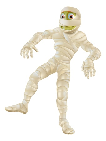 An illustration of a cartoon Halloween mummy character in bandages