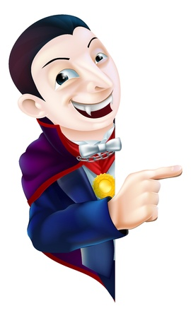 An illustration of a cute cartoon Count Dracula vampire character for Halloween pointing at a sign or banner