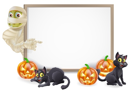 Halloween sign or banner with orange Halloween pumpkins and black witchs cats, witchs broom stick and cartoon Egyptian mummy character