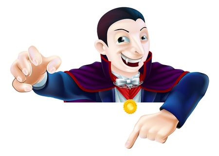 An illustration of a cute cartoon Count Dracula vampire character for Halloween pointing down at a sign or banner