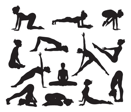 Silhouettes of a woman doing yoga exercises High quality and high detail