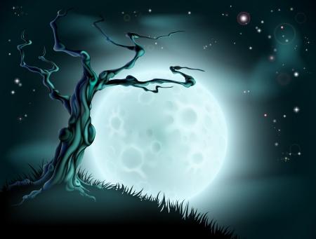 Een griezelige enge blauwe achtergrond van Halloween scène met volle maan, wolken, heuvel en eng boom