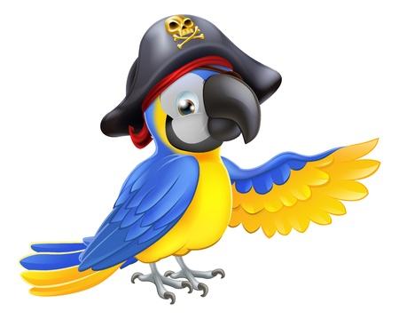 Een tekening van een cartoon papegaai piraat karakter met ooglapje en hoed met schedel en gekruiste wijzend met zijn vleugel