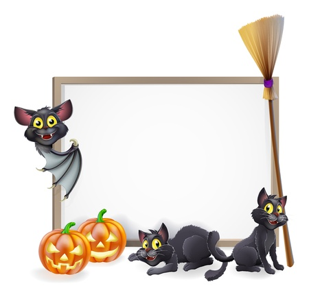 A Halloween background sign with pumpkins, black witches cats and broomstick and vampire bat and copyspace for your text in the centre