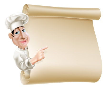 Illustration of a cartoon chef pointing at a scroll or banner perhaps a menu Ilustração