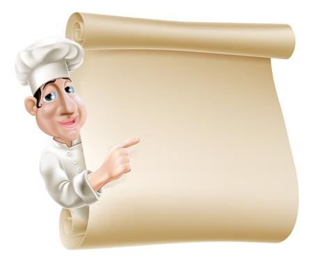 Ilustración de un chef de dibujos animados apuntando a un pergamino o pancarta quizás un menú Foto de archivo - 21075029