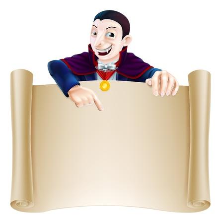 Une illustration d'un comte Dracula caractère de vampire de bande dessinée montrant un signe de défilement. Parfait pour votre Halloween signe ou un message