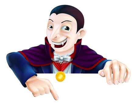 Cartoon Count Dracula vampire character for Halloween above a sign or banner pointing down at it Illustration