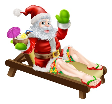 Summer Santa illustration  A Christmas illustration of Santa relaxing in a sun lounger on the beach or by the pool with a drink and wearing Bermuda or Hawaiian board shorts and flip flop sandals
