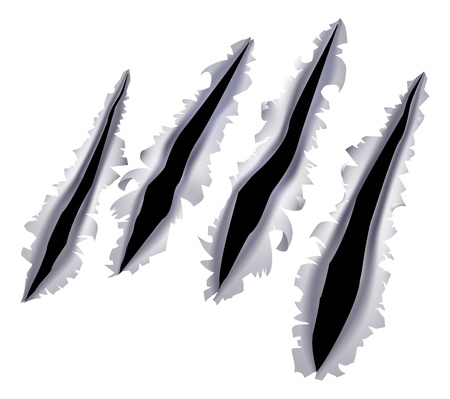 An illustration of a monster claw or hand scratch or rip through a metal background