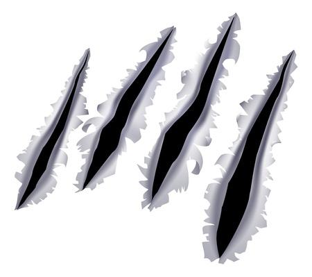 Una ilustración de una garra monstruosa o rascarse o rasgarse la mano a través de un fondo de metal Ilustración de vector