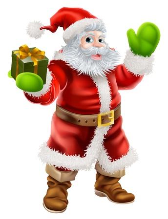 Ilustración de dibujos animados de Santa Claus saludando y sosteniendo un regalo de Navidad