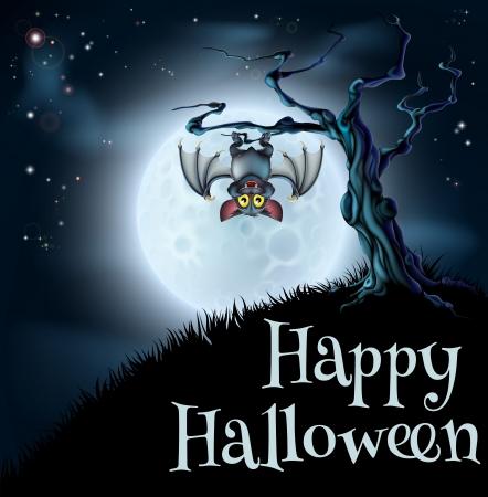 Een griezelige enge blauwe achtergrond van Halloween scène met vampier opknoping van een griezelige boom met een volle maan op de achtergrond