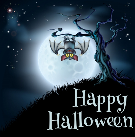 A spooky scary blue Halloween background scene with vampire bat hanging from a spooky tree with a full moon in the background