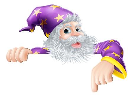 Un esempio di un personaggio dei cartoni animati mago che fa capolino sopra il segno e che punta