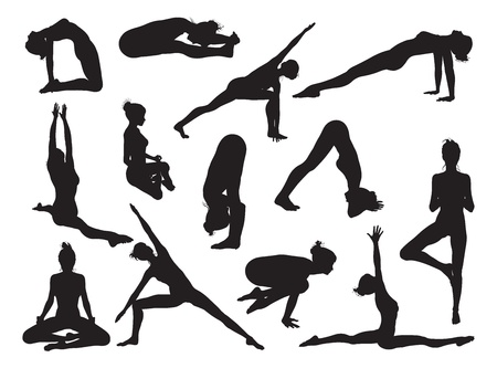 Very detailed detailed high quality yoga woman silhouettes Illustration