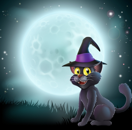 Illustration of a Halloween witch cat in a pointy hat  in front of a big full moon on a misty night