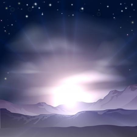 A wondrous sunrise or sunset over a mountain range landscape