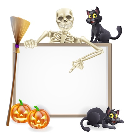 A Halloween sign with a classic skeleton character pointing down and witch Illustration