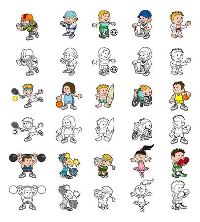 Un conjunto de los dibujos animados o los niños que juegan versiones de los perfiles en blanco y negro y color de deportes Foto de archivo - 21358050