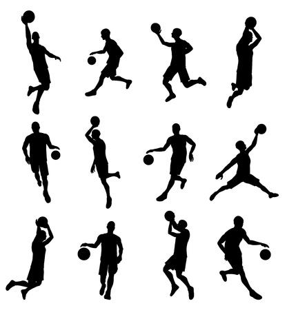 非常に詳細な高品質のバスケット ボール選手のシルエットのセット