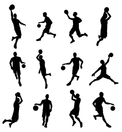 A set of highly detailed high quality Basketball player silhouettes Фото со стока - 21358052