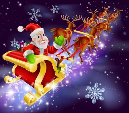 Kerst illustratie van de Kerstman vliegen in zijn slee of slee met nacht achtergrond
